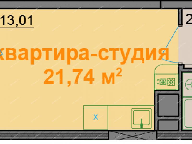 однокомнатная квартира на улице Красная Поляна дом 3 деревня Афонино